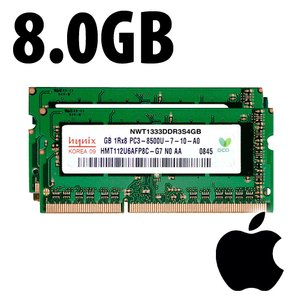 (*) 8.0GB (2 x 4GB) Apple-Major PC10600 DDR3 204 Pin CL9 1333MHz SO-DIMM Kit