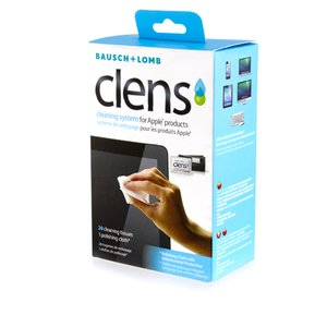 Bausch and Lomb Clens Cleaning System for Apple products. 20 individual wipes & polishing cloth.