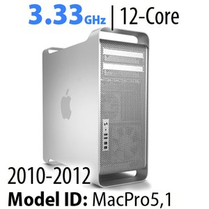 Apple Mac Pro (2010-12) 3.33GHz 12-Core: 32GB RAM, 3.0TB HDD, 480GB SSD, SuperDrive. Used.
