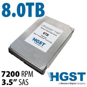 (*) 8.0TB HGST Ultrastar He8 3.5-inch SAS 12.0Gb/s 7200RPM Enterprise Class Hard Drive.