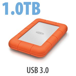 1.0TB LaCie Rugged Mini All-Terrain Hard Disk - USB 3.0 Interface.