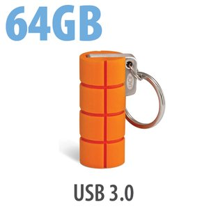64GB LaCie RuggedKey USB 3.0 Flash Drive. Built to withstand even the greatest of falls.