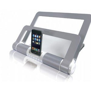 LifeWorks iStand Notebook Media Center with Built-in Speakers - Silver Color.