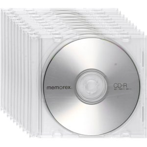 Memorex 52x CD-R 700MB Blank CD Media - 10 Pack in Slimline Jewel Cases