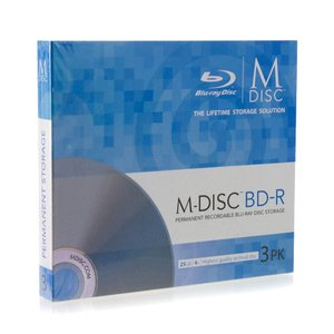 Millenniata 4X BD-R 25GB Blank M-DISC Blu-ray Media - 3 Pack in Slim Jewel Cases.
