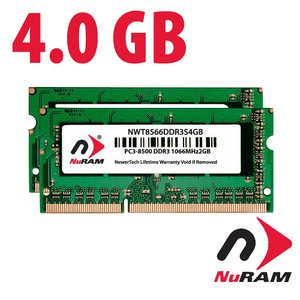 4.0GB (2x 2GB) NuRAM PC3-8500 DDR3 1066MHz SO-DIMM 204 Pin CL7 SO-DIMM Memory Upgrade Kit