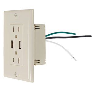 NewerTech Power2U AC 15A Outlet w/ 2x USB Charging Ports, 2x AC 110/120V - Light Almond Color.