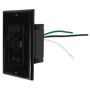 (*)NewerTech Power2U AC 15A Outlet w/ 2x USB Charging Ports, 2x AC 110/120V - Black Color.