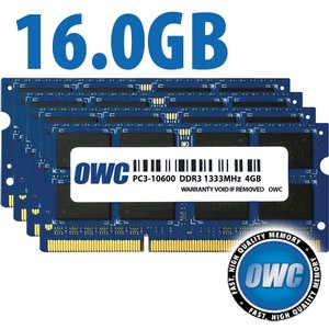 16.0GB (4x 4GB) PC3-10600 DDR3 1333MHz SO-DIMM 204 Pin CL9 SO-DIMM Memory Upgrade Kit