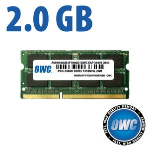 (*) 2.0GB PC3-10600 DDR3 1333MHz SO-DIMM 204 Pin CL9 Memory Upgrade Module
