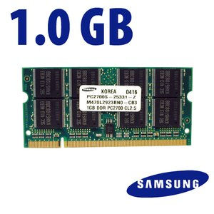 1.0GB PC2700 DDR 333MHz 200 Pin SO-DIMM Module Eqivalent to factory M470L2923BN0-CB3