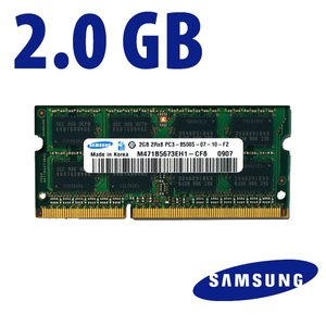 2.0GB Samsung Original PC-8500 DDR3 1066MHz SO-DIMM 204 Pin Memory Upgrade Module. Used.