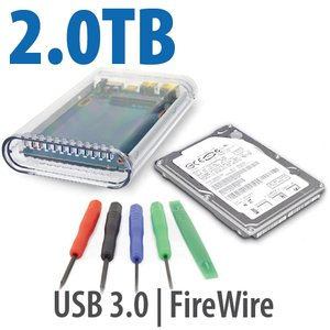 "DIY KIT: OWC On-the-Go FW800/USB 3.0 2.5"" Enclosure + 2.0TB Seagate / Samsung 5400RPM HDD"
