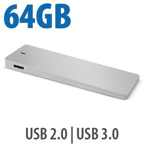 (*) 64GB External USB 3.0/2.0 external SSD Drive via OWC Envoy built with Apple 64GB Flash Drive