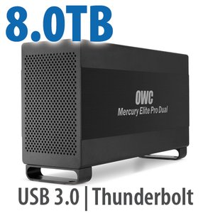 8.0TB Mercury Elite Pro Dual USB 3.0 & Thunderbolt RAID Storage Solution - 7200RPM HDDs