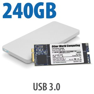 240GB OWC Aura 6G SSD + Envoy Pro Upgrade Kit for 2012/13 MacBook Pro with Retina display.