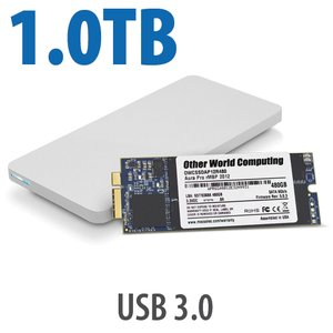 1.0TB OWC Aura 6G SSD + Envoy Pro Upgrade Kit for 2012-13 MacBook Pro with Retina display.