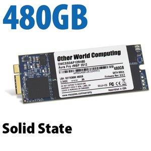 480GB OWC Aura 6G Solid-State Drive for 2012-13 MacBook Pro with Retina display.