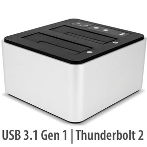 "OWC Thunderbolt 2+USB 3 Dual Drive Dock: Two drive bays for 2.5"" or 3.5"" drives, Internal Power."