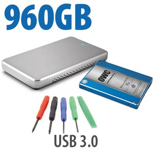 "DIY KIT: OWC Express USB 3.0/2.0 2.5"" Enclosure + 960GB Mercury Electra MAX 3G SSD"