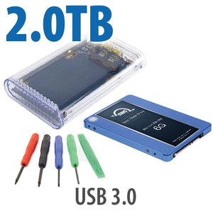 "DIY KIT: OWC On-the-Go USB 3.0 2.5"" Enclosure + 2.0TB OWC Mercury Electra MAX 6G SSD."