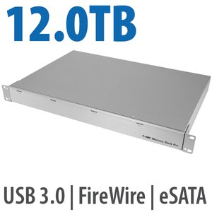 12.0TB OWC Mercury Rack Pro Enterprise Class 4 Bay eSATA, FW 800, FW 400 & USB 3.0 1U Rack Solution.