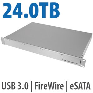 24.0TB OWC Mercury Rack Pro Enterprise Class 4 Bay eSATA, FW 800, FW 400 & USB 3.0 1U Rack Solution.
