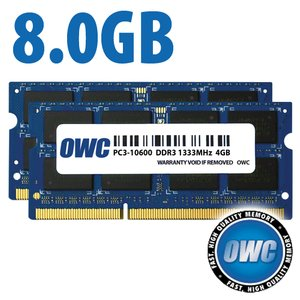 (*) 8.0GB (2x 4GB) PC3-10600 DDR3 1333MHz SO-DIMM 204 Pin CL9 SO-DIMM Memory Upgrade Kit