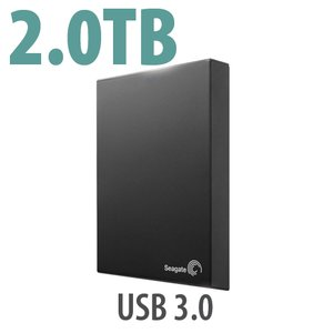 2.0TB Seagate Expansion Portable Hard Drive. Bus-powered, USB 3.0 interface.