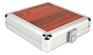 12 Disc CD/DVD/Blu-ray Case: Simulated Redwood Surface w/ Silver Trim