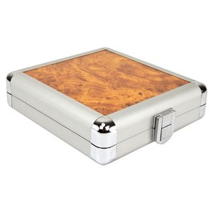 12 Disc CD/DVD/Blu-ray Case: Simulated Burl Wood Surface w/ Silver Trim.