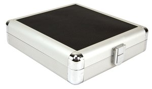 "20 Disc CD/DVD/Blu-ray Case: Black ""Rubberized"" Surface w/ Silver Trim"