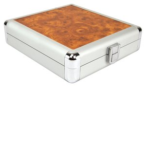 20 Disc CD/DVD/Blu-ray Case: Simulated Burl Wood Surface w/ Silver Trim