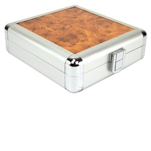 24 Disc CD/DVD/Blu-ray Case: Simulated Burl Wood Surface w/ Silver Trim