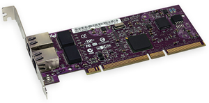 Sonnet Presto Gigabit Server dual-port Gigabit Ethernet PCI-X adapter card. 10/100/1000 Ethernet.