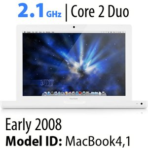 "Apple 13"" MacBook (2008) 2.1GHz Core 2 Duo: 1GB RAM, 120GB HDD, Combo Drive. Used."