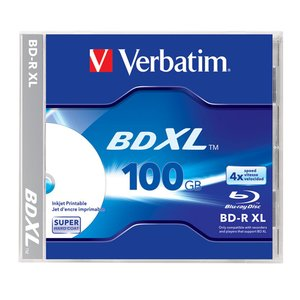 Verbatim 4x BD-R XL 100GB Blank Blu-ray Media - Single Disc in Jewel Case.
