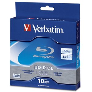 Verbatim 6x BD-R DL 50GB Blank Blu-ray Media - 10 Pack Spindle.