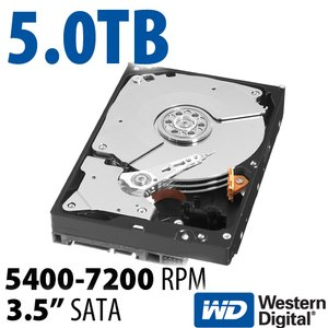 5.0TB WD Red 3.5-inch SATA 6.0Gb/s 5400-7200RPM Hard Drive with 64MB Cache