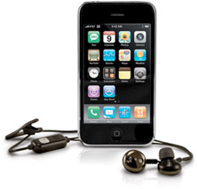 iPhone with NewerTech Hands-Free Mic and Earbuds for iPhone