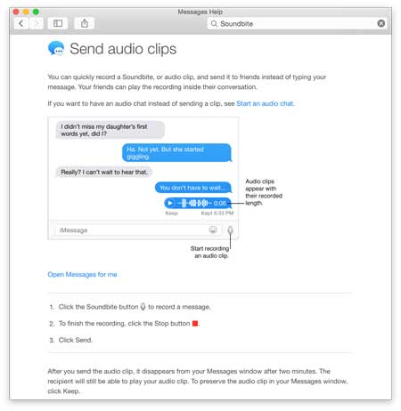 Yosemite's Audio Clips