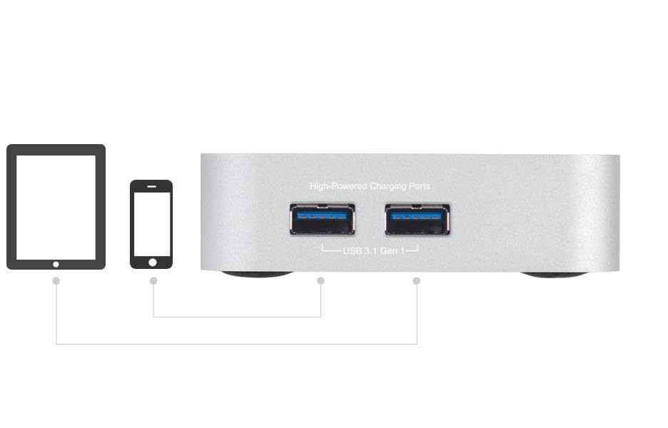 Thunderbolt 2 Dock's side-mounted USB 3.1 Gen 1 ports