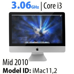 "Apple 21.5"" iMac (2010) 3.06GHz Core i3: 4GB RAM, 500GB HDD, SuperDrive, Used"