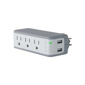 Belkin Mini Surge Protector with integrated USB Charger. GREAT for travel- iPods, phones, etc.!
