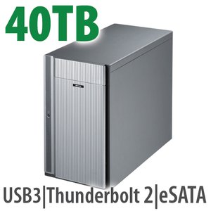 40.0TB Buffalo DriveStation Ultra DAS Solution with dual Thunderbolt 2, USB 3.0, & eSATA ports.