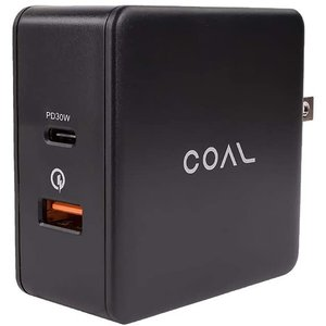 Coal 48 Watt Wall Charger - Dual Port with USB Type-C and USB Type-A port with QuickCharge 3.0