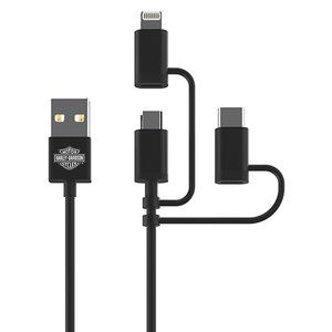 6 Foot (1.8M) Fonegear USB to Apple Lightning, Micro-USB, USB TypeC All-In-One Charge/Sync Cable