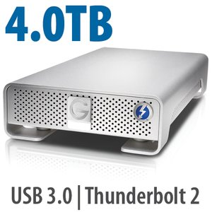 4.0TB G-Technology G-DRIVE with Thunderbolt. Thunderbolt 2 & USB 3.0 Interfaces.