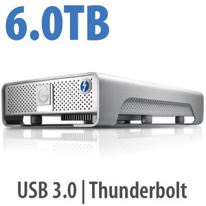 6.0TB G-Technology G-DRIVE with Thunderbolt. Thunderbolt & USB 3.0 Interfaces.