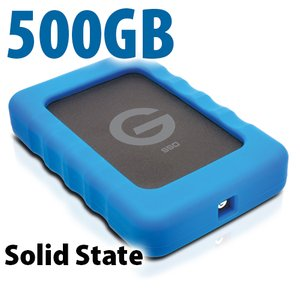 500GB G-Technology G-DRIVE ev SSD RaW: Rugged and Lightweight USB 3.0 Solid State Drive.